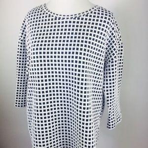 Lou Grey Knit top boxy 3/4 sleeve black check M